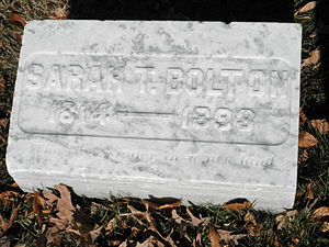 Sarah T. Bolton - Bolton's gravestone at the Crown Hill Cemetery in Indianapolis.