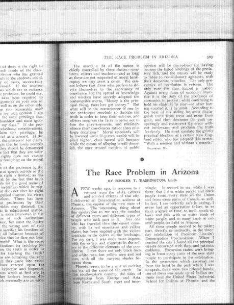 "File:Booker T. Washington, ""The Race Problem in Arizona"".djvu"