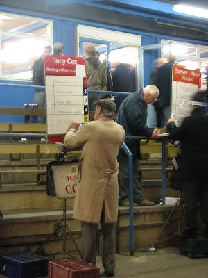 Bookmaker (gambling) - Bookmakers on a greyhound race course, Reading, Berkshire