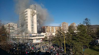Tuzla government building burning after anti-government clashes on 7 February 2014