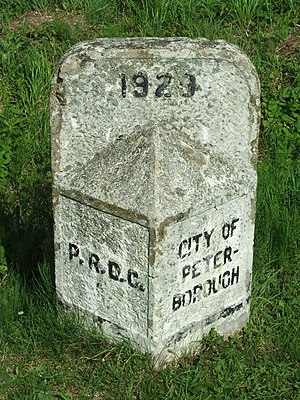 Peterborough Rural District - Post marking the boundary of the City and Rural District.