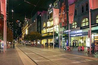 Bourke Street, Melbourne - Bourke Street at night