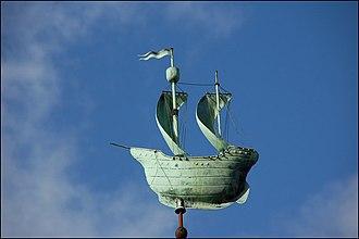 Copper in architecture - Copper galleon finial.