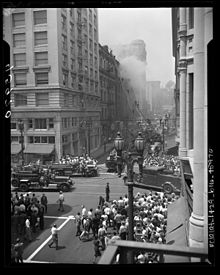 Lafd On The Scene Of A Fire In Thedbury Building Downtown Los Angeles In 1947