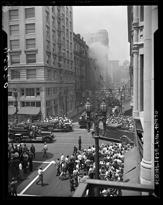 Los Angeles Fire Department - LAFD on the scene of a fire in the Bradbury Building, Downtown Los Angeles in 1947.