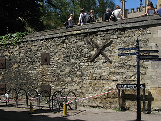 Brasenose Lane - The wall of Exeter College at the eastern end of Brasnose Lane.