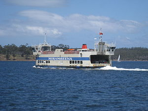 Bruny Island Ferry - The Bruny Island ferry Mirambeena en route from Kettering to Roberts Point