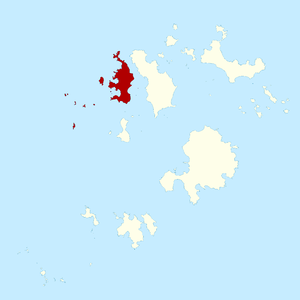 Bryher, Isles of Scilly - The isles of Scilly comprising the civil parish and ward of Bryher shown in red.