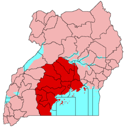 Buganda is shaded red on this map