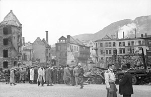 ST Voorbode - Destroyed houses in the center of Bergen, close to the quay where the ship exploded