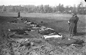 Racism in the Soviet Union - Dead German civilians in Nemmersdorf, East Prussia. News of Soviet atrocities, spread and exaggerated by Nazi propaganda, hastened the flight of ethnic Germans from much of Eastern Europe.