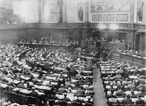 Revolutionary Stewards - Reich Congress of Workers' and Soldiers' Councils in the Prussian Landtag in Berlin on 16 December 1918 during the opening speech of executive council member and representative of the Revolutionary Stewards, Richard Müller.