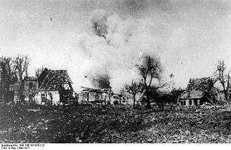 31st Division (United Kingdom) - Oppy under shellfire, May 1917.