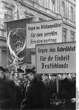 International Authority for the Ruhr - Protest in communist East Berlin against the Ruhr statute, and against the Occupation statute.