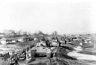 First Battle of Târgu Frumos - Vehicles and Panther tanks of the Großdeutschland division operating in Romania – April 1944.