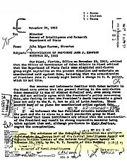 "Memo from J. Edgar Hoover, referring to ""Mr. George Bush of the CIA"", briefed 24 hours after JFK's murder"