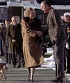 Bush greets Thatcher 1989 Camp David.jpg