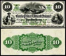 1872 $ 10 Bank of Isola del Principe Edoardo banconota che raffigura la pesca
