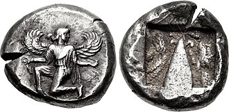 Artemisia I of Caria - Coinage of Kaunos, Caria at the end of Artemisia's rule, and beginning of the rule of her son Pisindelis. Obv: Winged female figure running right, head left, holding kerykeion in her right hand, and a victory wreath in left. Rev: Baetyl in incuse square. Circa 470-450 BC.