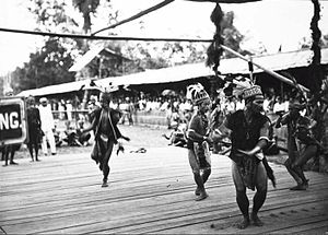 Dayak Mualang - Traditional dance being performed by a group of Mualang Dayak men during the visit of Governor General Johan Paul van Limburg Stirum, circa 1920.