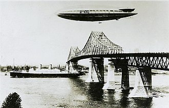R100 - Passing over the Jacques Cartier Bridge in Montreal, August 1930