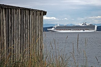 Hansville, Washington - The M/S Crown Princess passes by Norwegian Point in Hansville.
