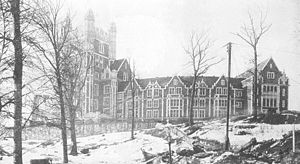 Old photo of the main City College building, Shepard Hall, looking West from St. Nicholas Avenue to Shepard Hall's main entrance on St. Nicholas Terrace