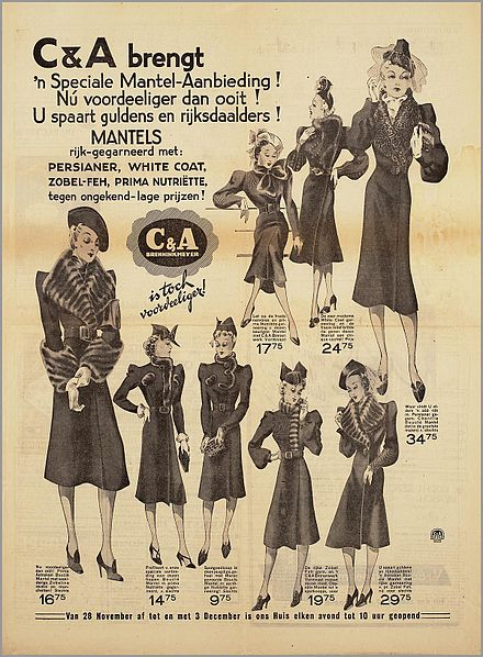 1938 Dutch newspaper advertisement for women's clothing sold at C&A stores C & A Speciale Mantel-Aanbieding.jpg