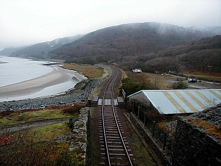 A single-track stretch on the Cambrian Coast Line Cambrian Coast Railway - geograph.org.uk - 214756.jpg