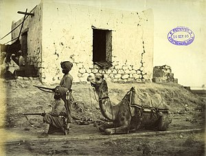 Nile Expedition - Photograph of Camel Corps, 2 Sikhs at the 'Ready'. Photograph by Felice Beato, 1884/85.