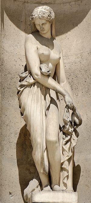Campaspe - Campaspe taking off her clothes in front of Apelles by order of Alexander, c.1883 by Auguste Ottin (1811–1890). North façade of the Cour Carrée in the Louvre, Paris.