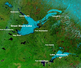 Great Slave Lake - NASA photo of Great Slave Lake and Lake Athabasca