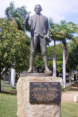 "Cooktown, Queensland - Captain James Cook Commander, H.M.B. ""Endeavour"" which was beached and repaired near this site 17 June – 4 August, 1770"