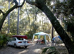 """Car camping"" is camping in a tent, but nearby the car for easier access and for supply storage."