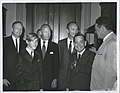 Carl Albert with Apollo 11 astronauts, including Edwin E. Buzz Aldrin, Neil Armstrong, and Michael Collins, and his son David. Hale Boggs is on the right.jpg
