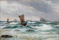 Carl Locher - Sejlskibe ud for Skagens kyst - 1873.png