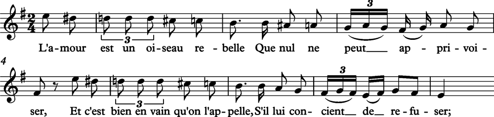 Carmen Aria 'L'amour est un oiseau rebelle.' Listen (This phrase is quoted by Dizzy Gillespie in the jazz example given above.) Carmen Aria 'L'amour est un oiseau rebelle'.png