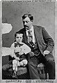 Carte de visite of Oscar Chopin (husband of Kate Chopin) and son Jean in New Orleans (from black and white negative), 1874.jpg