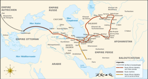 Ármin Vámbéry - Map of the travel of Ármin Vámbery in Central Asia