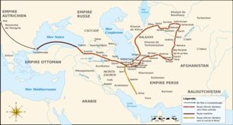Ármin Vámbéry - Map of the travel of Ármin Vámbery in Central Asia