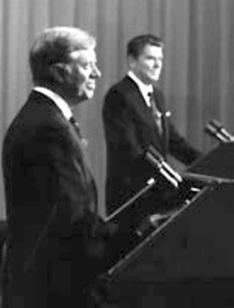 """United States presidential debates - President Jimmy Carter (left) and former Governor Ronald Reagan (right) at the presidential debate October 28, 1980. Reagan most memorably deployed the phrase """"there you go again."""""""