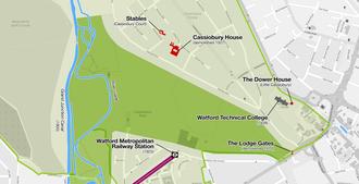 Cassiobury - Image: Cassiobury House map
