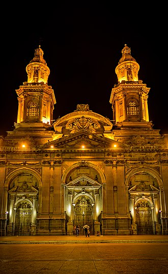 Santiago Metropolitan Cathedral - The Cathedral at night