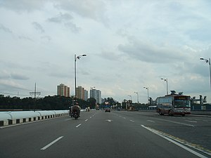 Johor–Singapore Causeway - The Johor–Singapore Causeway across the Straits of Johor facing towards Singapore.