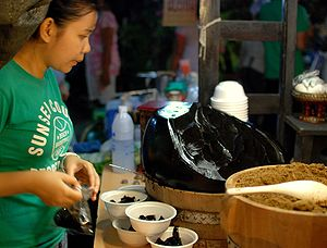 Grass jelly - Chaokuai sold on the Sunday Walking Street market in Chiang Mai, Thailand