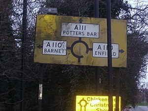 A111 road (England) - Image: Chase Side pre Worboys sign geograph.org.uk 1078768