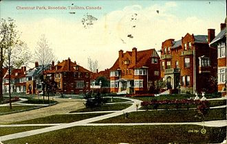 Rosedale, Toronto - A postcard from the 1920s shows Chestnut Park in Rosedale