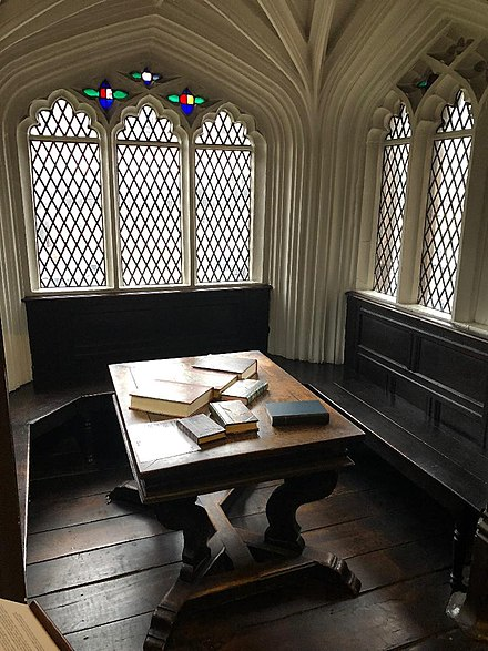 The window alcove in which Karl Marx and Friedrich Engels worked Chetham's Library - The Marx, Engels alcove.jpg
