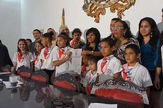 Colectivo (Venezuela) - Children of the La Piedrita colectivo receiving awards at the Palacio Municipal de Caracas.