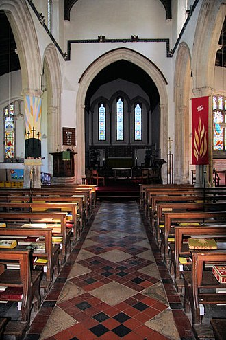 All Saints' Church, Lawshall - The tiled nave of All Saints' Church